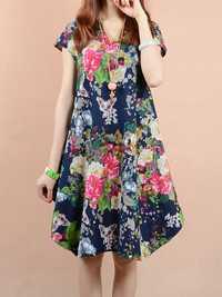 O-NEWE Vintage Women Flower Printed V-Neck Dress