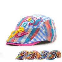 Kids Boys Girls Letter Grid Cute Berets Hat Flat Cap Children Casual Outdoor Visor Gorras