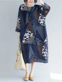 Vintage Women Folk Style Cotton Print Patchwork Dress