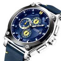MEGIR 2098 Sports Chronograph Date Leather Men Quartz Watch
