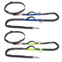Hands Free Dog Leash Running Jogging Waist Belt Pet Training Elastic Leashes