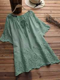 Women Hollow Embroidered Off Shoulder Half Sleeve Blouse