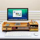 Meilleurs prix Multi-function Desktop Monitor Stand Computer Laptop Screen Riser Wood Shelf Desk Storage Holder with Lock
