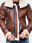 Les plus populaires Mens Faux Leather Jacket Fleece Lining Warm Shearling Coat