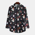 Meilleurs prix Christmas Snow Man Pattern Turn Down Collar Fashion Shirts