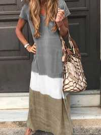 Contrast Color Maxi Dress