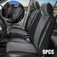 9cs Black + Grey Universal 5-seat Car Universal Auto Seat Cushion Cover Protector