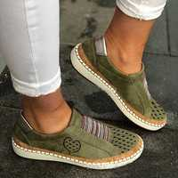 Women Casual Hollow Out Breathable Slip On Flats