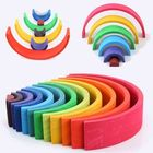 Meilleur prix 12Pcs Rainbow Semicircle Bridge Wooden Toy Children Stacker Educational Puzzle Toys