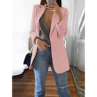 Discount pas cher Solid Color Long Sleeve Button Thin Blazers