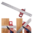 Recommandé Drillpro CX300-1 Adjustable 30cm Stainless Steel 45/90 Degree Line Scriber Marking Ruler Angle Ruler Inch and Metric Magnetic Positioning Measuring Ruler Woodworking Tool