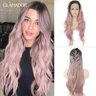 Promotion 24 Inch T Pink Wig Front Lace Chemical Fiber Wig ladies high