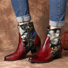 Acheter au meilleur prix Women Retro Embossed Flowers Stitching Leather Ankle Boots
