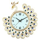 Offres Flash Large DIY 3D Flower Peacock Diamond Wall Clock Metal Modern Home Office Decorations