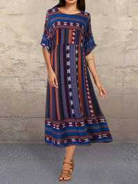 Bohemia Print Splice Contrast color Vintage Dress