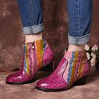 Les plus populaires Women Hand Painted Rainbow Stripes Texture Ankle Boots