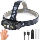Prix de gros BORUIT 10W 800LM L2+2xCOB Headlamp Power Display 10 Modes USB Charging Sensing Cycling Night Warning Light