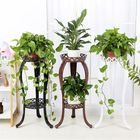 Acheter Retro Flower Stand Chic Indoor Garden Metal Plant Holder Display Planter Vase