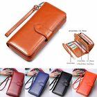 Acheter Vintage Women Men Leather Long Wallet Card Holder Clutch Purse Handbag Phone