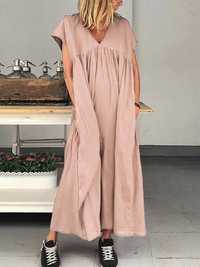 Women Casual Short Sleeve V-neck Loose Maxi Dress