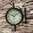 Les plus populaires 2 Styles Vintage Retro Indoor Outdoor Wall Hanging Clock for Home Decoration