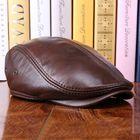 Meilleurs prix Men Vintage Genuine Leather Beret Caps