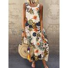 Prix de gros Sleeveless O-neck Loose Causal Floral Print Maxi Dress