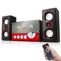 SM-1506 Wooden HiFi Remote Control Home Speaker Multimedia Support bluetooth Karaoke Speaker System