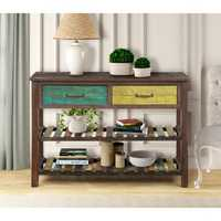TREXM Console Wooden Table for Entryway Hallway Bathroom Living Room with Drawers and 2 Tiers Shelves