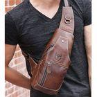 Meilleurs prix Bullcaptain Men Genuine Leather Wear Resisting Textured Business Casual Brown Black Chest Bag Shoulder Crossbody Bag