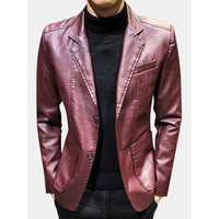 Men's Faux Leather Slim Fit Jacket