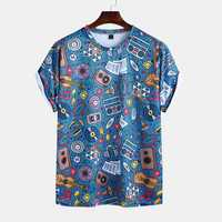 Men Graffiti Printed Summer Casual Short Sleeve Round Neck