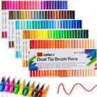 Recommandé 120 Colors Double-headed Marker Pen Art Brush Watercolor Dual Tip Pens