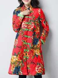 Plus Size Vintage Women Floral Printed Cotton Linen Coats