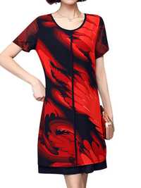 Elegant Women Chiffon Dress Patchwork Flowers Printing Two Layers Dresses