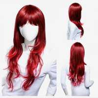 Lady Red Long Curly Wig Reddish Brown Gradient Wavy