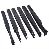 6pcs Black Anti-static Plastic Tweezers Heat Resistant Repair Tool
