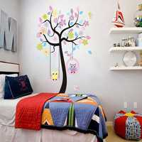 Owls On the Swing Colourful Tree PVC Removable Wallpaper 78AB