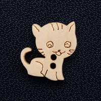 50pcs Wood Buttons Cartoon Loose Bead Sewing Party Crafts