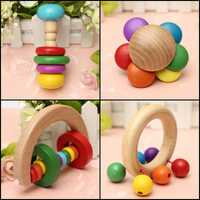 Baby Kid Wooden Handbell Musical Education Instrument Bell Rattle Toy