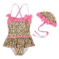 Children Baby Girls Leopard Bikini Kids Swimsuit Siamesed Swimwear