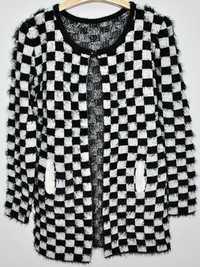 Zanzea Square Black and White Plaid Wool Cardigan Coat