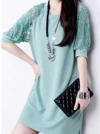 Fashion Women Summer Maxi Loose Lace Short Sleeve Round Neck Dresses