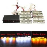 12V 2X8 LED Bulb Amber White Car Flash Warning Emergency Strobe Light Lamp Bar