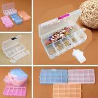 Multicolor 15 Slots Plastic Compartment Jewelry Pill Beads Storage Box
