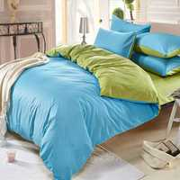 3/4pcs Pure Cotton Sky Blue Green Color Assorted Bedding Sets Plain Duvet Cover