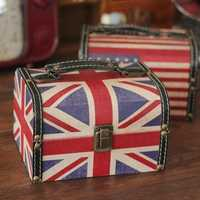 Vintage British American Flag Jewelry Box Organizer Storage Case