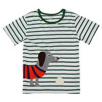 2015 New Little Maven Lovely Dog Stripe Baby Children Boy Cotton Short Sleeve T-shirt Top