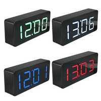Acrylic Mirror Wooden Digital LED Alarm Clock Time Calendar Thermometer