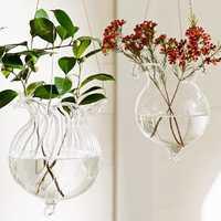 Lotus Leaf Hydroponic Plants Flower Glass Vase Home Party Decoration